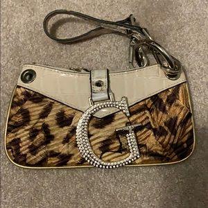 GUESS rhinestone leopard cheetah wristlet